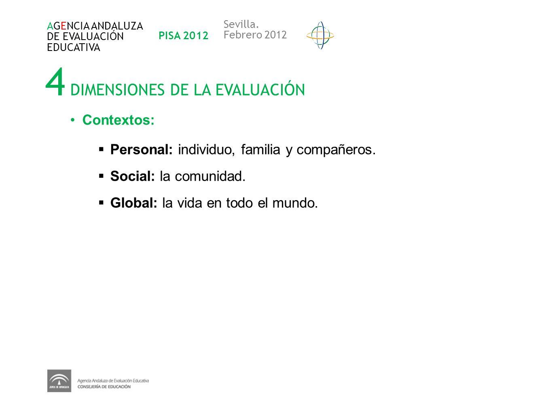 4 DIMENSIONES DE LA EVALUACIÓN AGENCIA ANDALUZA DE EVALUACIÓN EDUCATIVA PISA 2012 Sevilla. Febrero 2012 Contextos: Personal: individuo, familia y comp