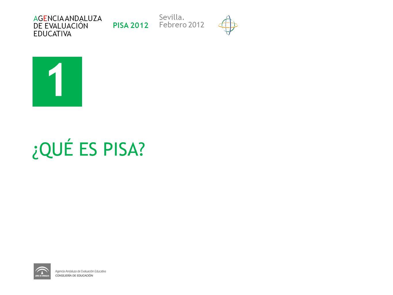 1 ¿QUÉ ES PISA? AGENCIA ANDALUZA DE EVALUACIÓN EDUCATIVA PISA 2012 Sevilla. Febrero 2012