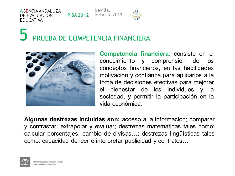 5 PRUEBA DE COMPETENCIA FINANCIERA Competencia financiera: consiste en el conocimiento y comprensión de los conceptos financieros, en las habilidades