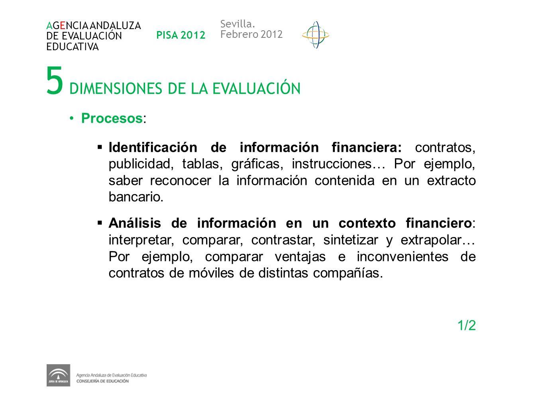 5 DIMENSIONES DE LA EVALUACIÓN AGENCIA ANDALUZA DE EVALUACIÓN EDUCATIVA PISA 2012 Sevilla. Febrero 2012 Procesos: Identificación de información financ