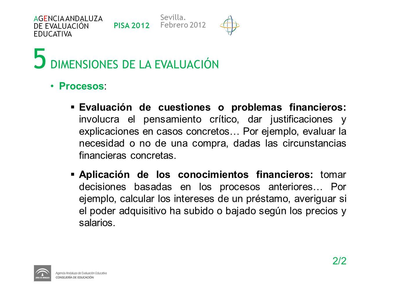5 DIMENSIONES DE LA EVALUACIÓN AGENCIA ANDALUZA DE EVALUACIÓN EDUCATIVA PISA 2012 Sevilla. Febrero 2012 Procesos: Evaluación de cuestiones o problemas