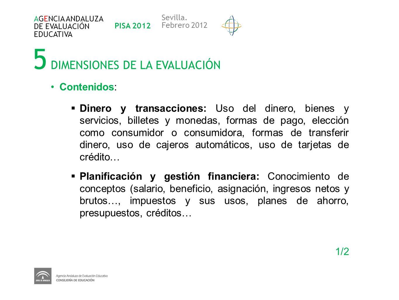 5 DIMENSIONES DE LA EVALUACIÓN AGENCIA ANDALUZA DE EVALUACIÓN EDUCATIVA PISA 2012 Sevilla. Febrero 2012 Contenidos: Dinero y transacciones: Uso del di