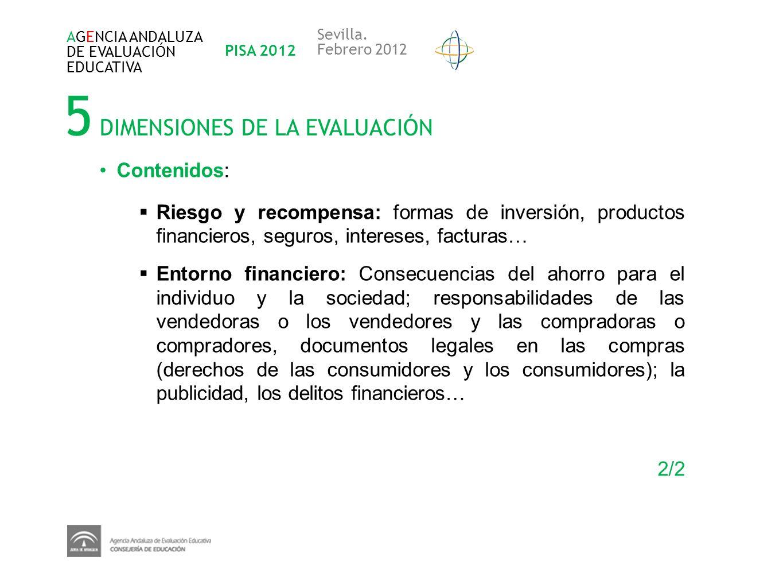 5 DIMENSIONES DE LA EVALUACIÓN AGENCIA ANDALUZA DE EVALUACIÓN EDUCATIVA PISA 2012 Sevilla. Febrero 2012 Contenidos: Riesgo y recompensa: formas de inv