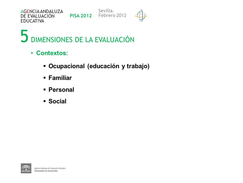 5 DIMENSIONES DE LA EVALUACIÓN AGENCIA ANDALUZA DE EVALUACIÓN EDUCATIVA PISA 2012 Sevilla. Febrero 2012 Contextos: Ocupacional (educación y trabajo) F
