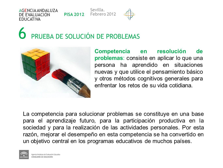 6 PRUEBA DE SOLUCIÓN DE PROBLEMAS Competencia en resolución de problemas: consiste en aplicar lo que una persona ha aprendido en situaciones nuevas y