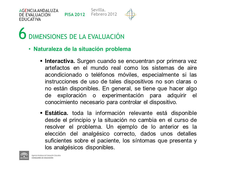 6 DIMENSIONES DE LA EVALUACIÓN AGENCIA ANDALUZA DE EVALUACIÓN EDUCATIVA PISA 2012 Sevilla. Febrero 2012 Naturaleza de la situación problema Interactiv