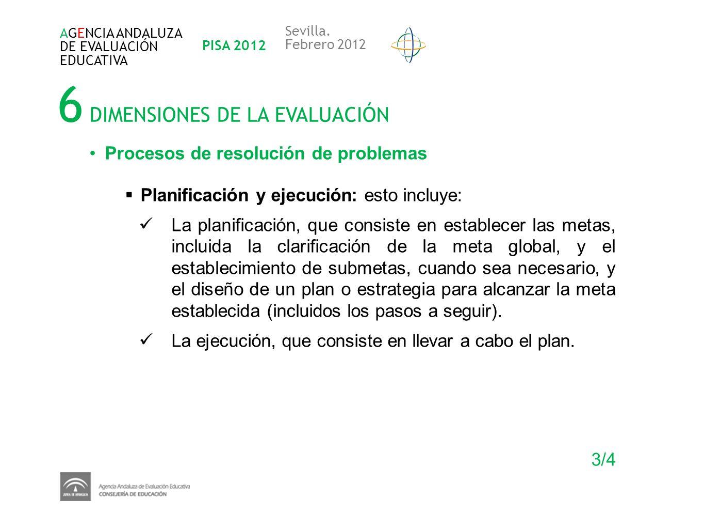 6 DIMENSIONES DE LA EVALUACIÓN AGENCIA ANDALUZA DE EVALUACIÓN EDUCATIVA PISA 2012 Sevilla. Febrero 2012 Procesos de resolución de problemas Planificac