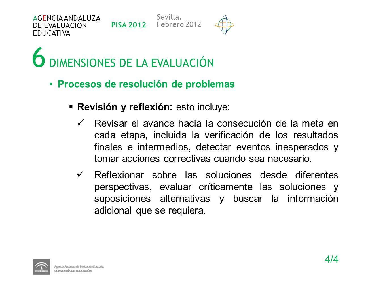 6 DIMENSIONES DE LA EVALUACIÓN AGENCIA ANDALUZA DE EVALUACIÓN EDUCATIVA PISA 2012 Sevilla. Febrero 2012 Procesos de resolución de problemas Revisión y