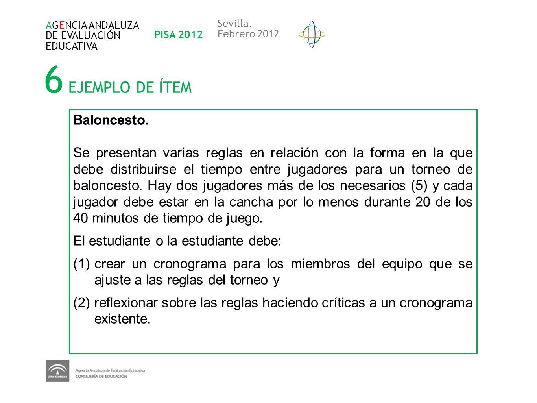 6 EJEMPLO DE ÍTEM AGENCIA ANDALUZA DE EVALUACIÓN EDUCATIVA PISA 2012 Sevilla. Febrero 2012 Baloncesto. Se presentan varias reglas en relación con la f