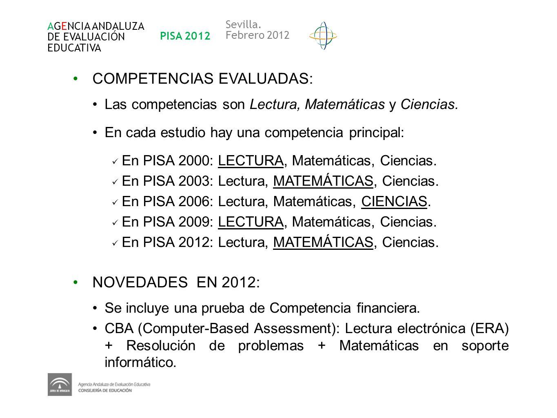 COMPETENCIAS EVALUADAS: Las competencias son Lectura, Matemáticas y Ciencias. En cada estudio hay una competencia principal: En PISA 2000: LECTURA, Ma