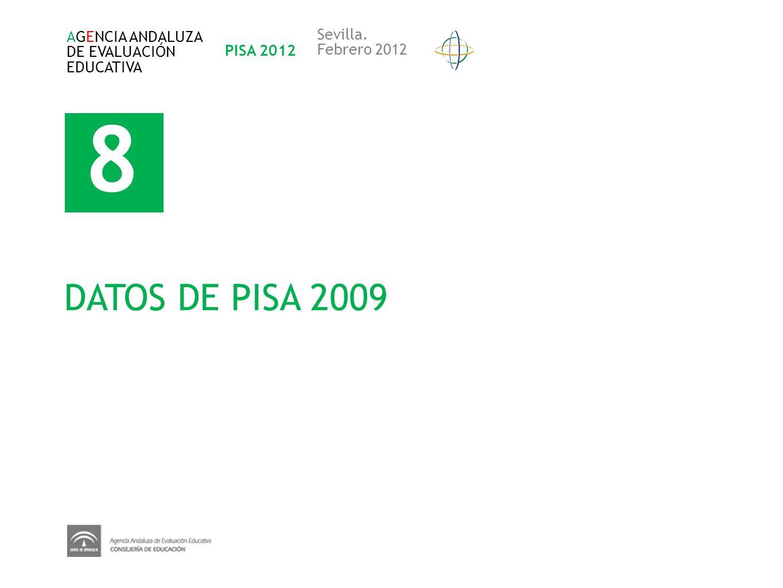8 DATOS DE PISA 2009 AGENCIA ANDALUZA DE EVALUACIÓN EDUCATIVA PISA 2012 Sevilla. Febrero 2012
