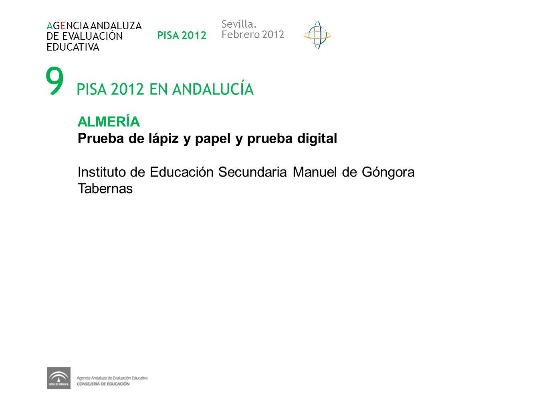 9 PISA 2012 EN ANDALUCÍA AGENCIA ANDALUZA DE EVALUACIÓN EDUCATIVA PISA 2012 Sevilla. Febrero 2012 ALMERÍA Prueba de lápiz y papel y prueba digital Ins