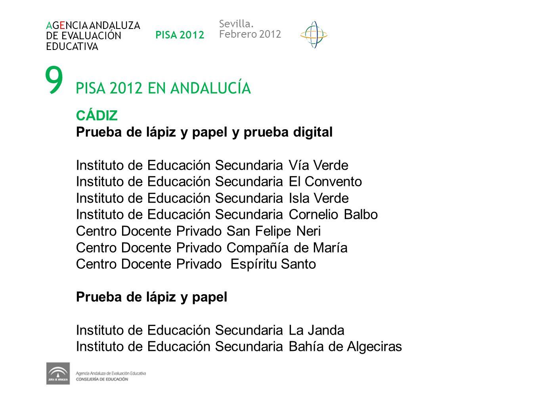 9 PISA 2012 EN ANDALUCÍA AGENCIA ANDALUZA DE EVALUACIÓN EDUCATIVA PISA 2012 Sevilla. Febrero 2012 CÁDIZ Prueba de lápiz y papel y prueba digital Insti