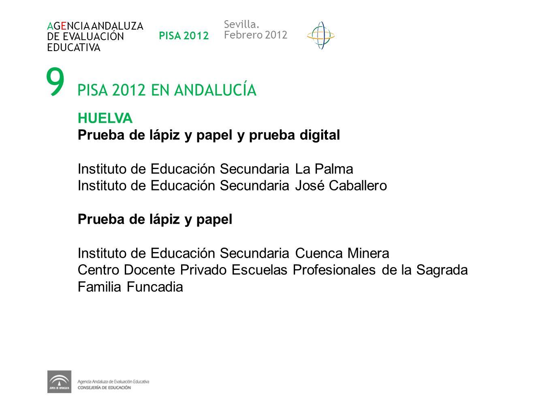 9 PISA 2012 EN ANDALUCÍA AGENCIA ANDALUZA DE EVALUACIÓN EDUCATIVA PISA 2012 Sevilla. Febrero 2012 HUELVA Prueba de lápiz y papel y prueba digital Inst