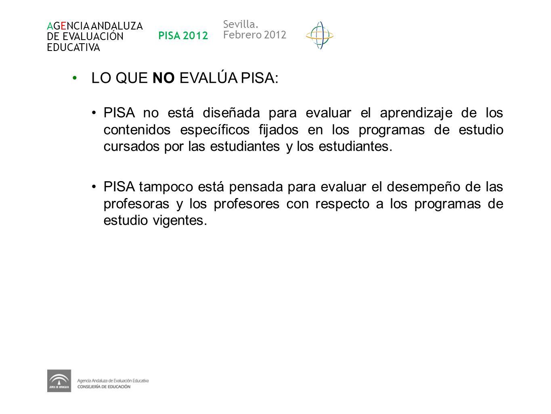 AGENCIA ANDALUZA DE EVALUACIÓN EDUCATIVA PISA 2012 Sevilla. Febrero 2012 LO QUE NO EVALÚA PISA: PISA no está diseñada para evaluar el aprendizaje de l