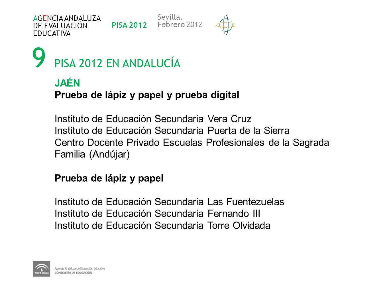 9 PISA 2012 EN ANDALUCÍA AGENCIA ANDALUZA DE EVALUACIÓN EDUCATIVA PISA 2012 Sevilla. Febrero 2012 JAÉN Prueba de lápiz y papel y prueba digital Instit
