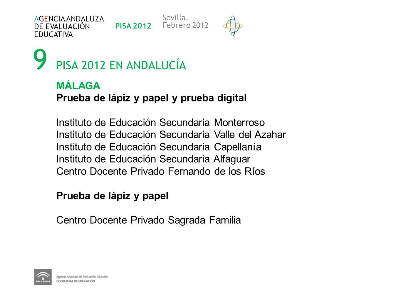 9 PISA 2012 EN ANDALUCÍA AGENCIA ANDALUZA DE EVALUACIÓN EDUCATIVA PISA 2012 Sevilla. Febrero 2012 MÁLAGA Prueba de lápiz y papel y prueba digital Inst
