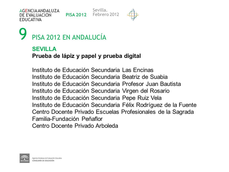 9 PISA 2012 EN ANDALUCÍA AGENCIA ANDALUZA DE EVALUACIÓN EDUCATIVA PISA 2012 Sevilla. Febrero 2012 SEVILLA Prueba de lápiz y papel y prueba digital Ins