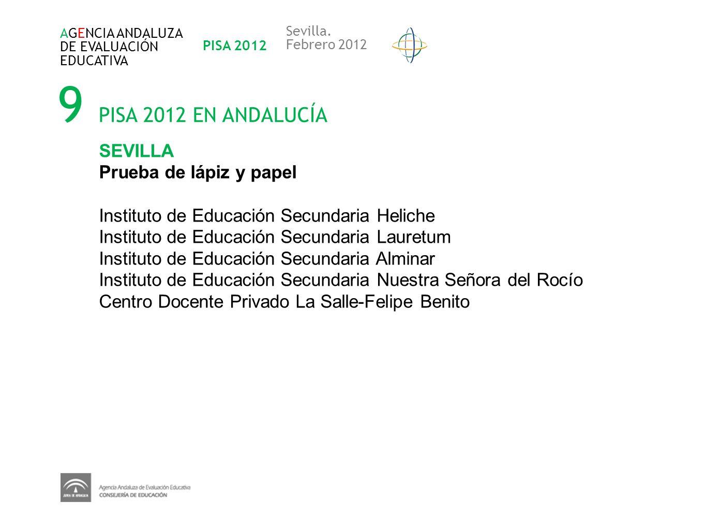 9 PISA 2012 EN ANDALUCÍA AGENCIA ANDALUZA DE EVALUACIÓN EDUCATIVA PISA 2012 Sevilla. Febrero 2012 SEVILLA Prueba de lápiz y papel Instituto de Educaci