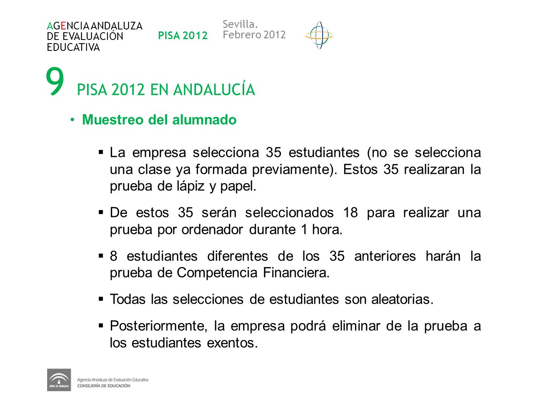 9 PISA 2012 EN ANDALUCÍA AGENCIA ANDALUZA DE EVALUACIÓN EDUCATIVA PISA 2012 Sevilla. Febrero 2012 Muestreo del alumnado La empresa selecciona 35 estud