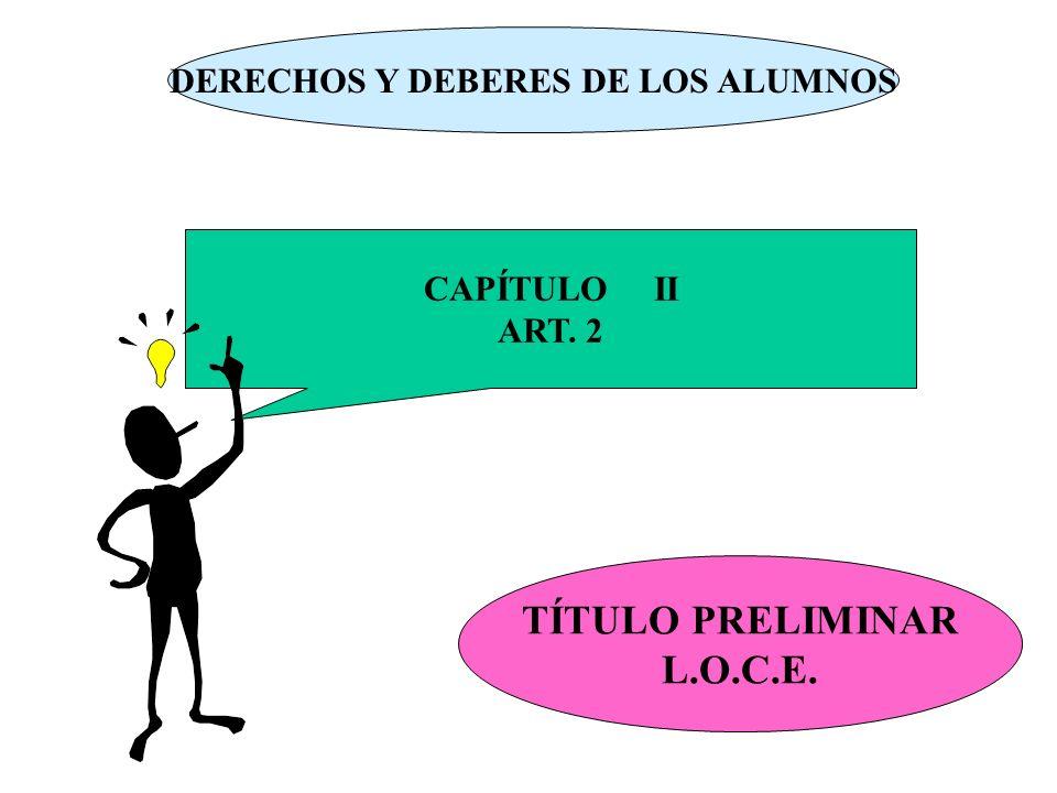DERECHOS Y DEBERES DE LOS ALUMNOS CAPÍTULO II ART. 2 TÍTULO PRELIMINAR L.O.C.E.