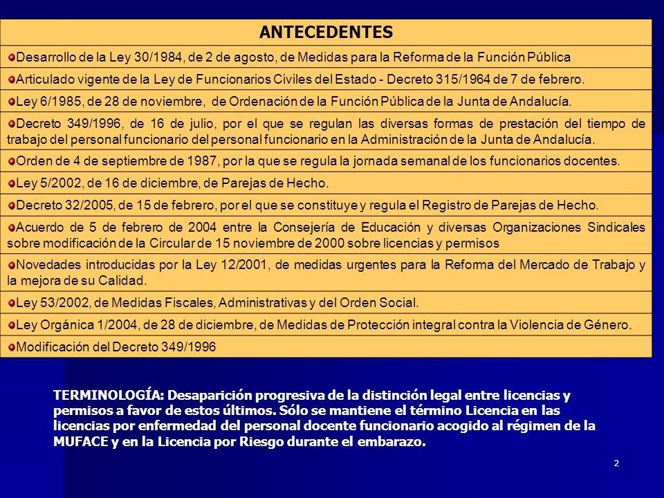 1 CIRCULAR DE 6 DE ABRIL DE 2005 DE LA DGGRH SOBRE PERMISOS Y LICENCIAS Servicio de Inspección de Sevilla – Luis M.