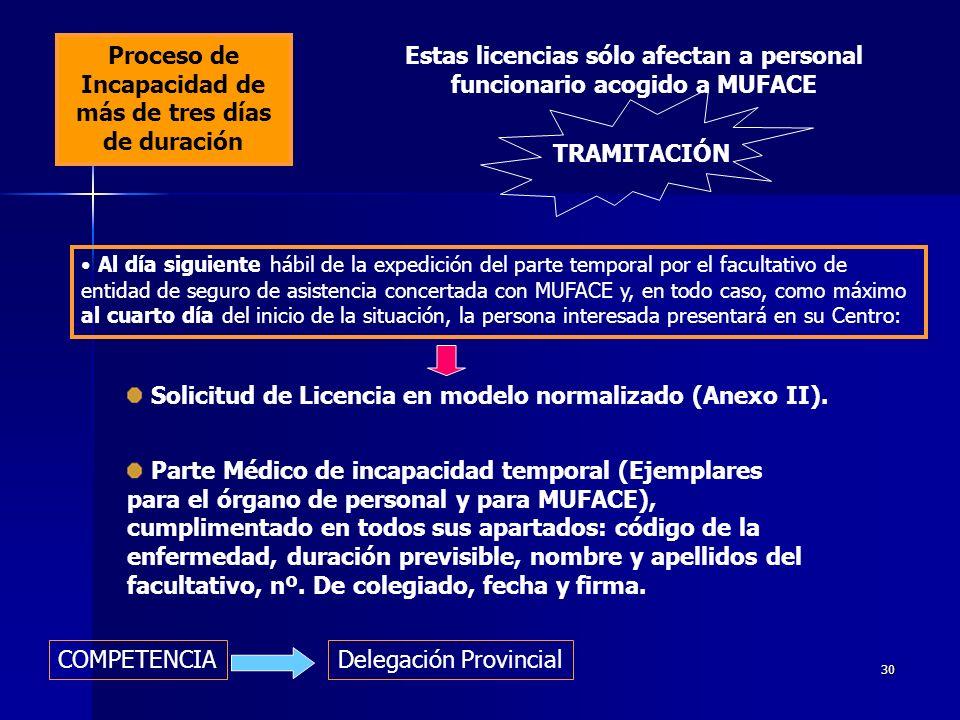 29 LICENCIA POR ENFERMEDAD O ACCIDENTE Enfermedad de hasta 3 días de duración No se requiere solicitud de licencia Se comunicará la ausencia al Equipo Directivo del centro, el mismo día que se produzca.