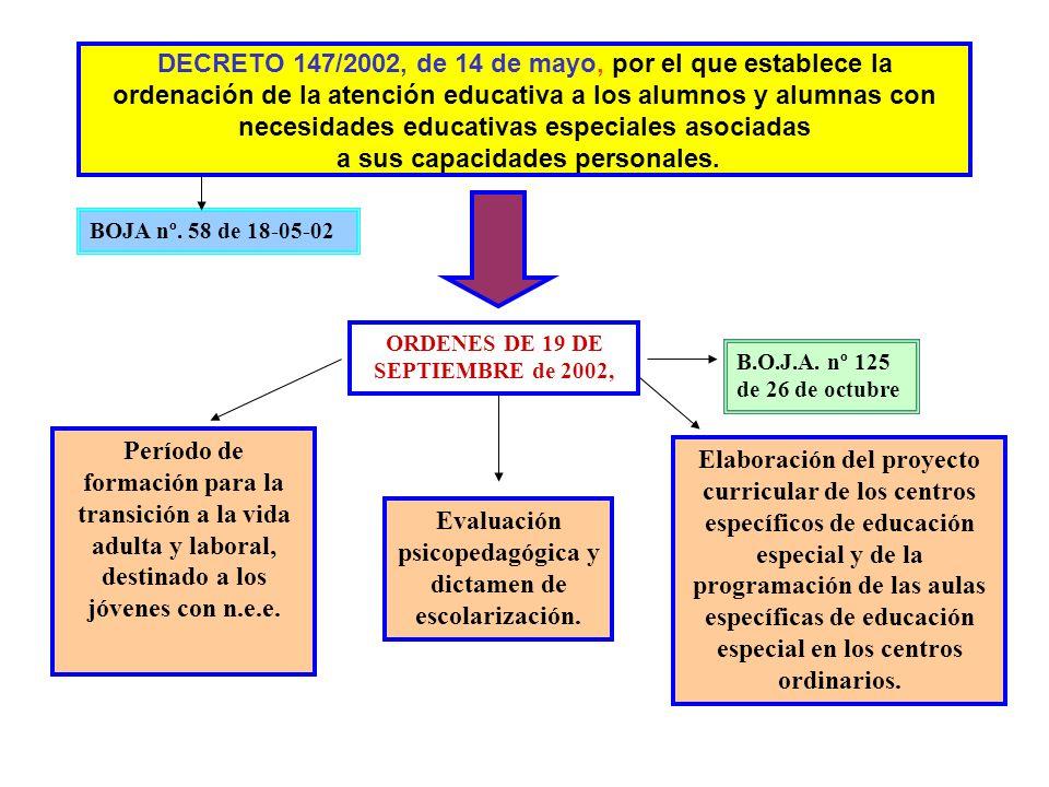 DECRETO 147/2002, de 14 de mayo, por el que establece la ordenación de la atención educativa a los alumnos y alumnas con necesidades educativas especiales asociadas a sus capacidades personales.