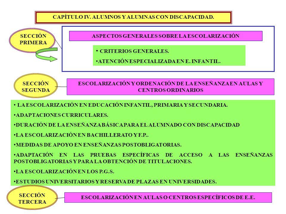 CAPÍTULO IV. ALUMNOS Y ALUMNAS CON DISCAPACIDAD. SECCIÓN PRIMERA ASPECTOS GENERALES SOBRE LA ESCOLARIZACIÓN CRITERIOS GENERALES. ATENCIÓN ESPECIALIZAD