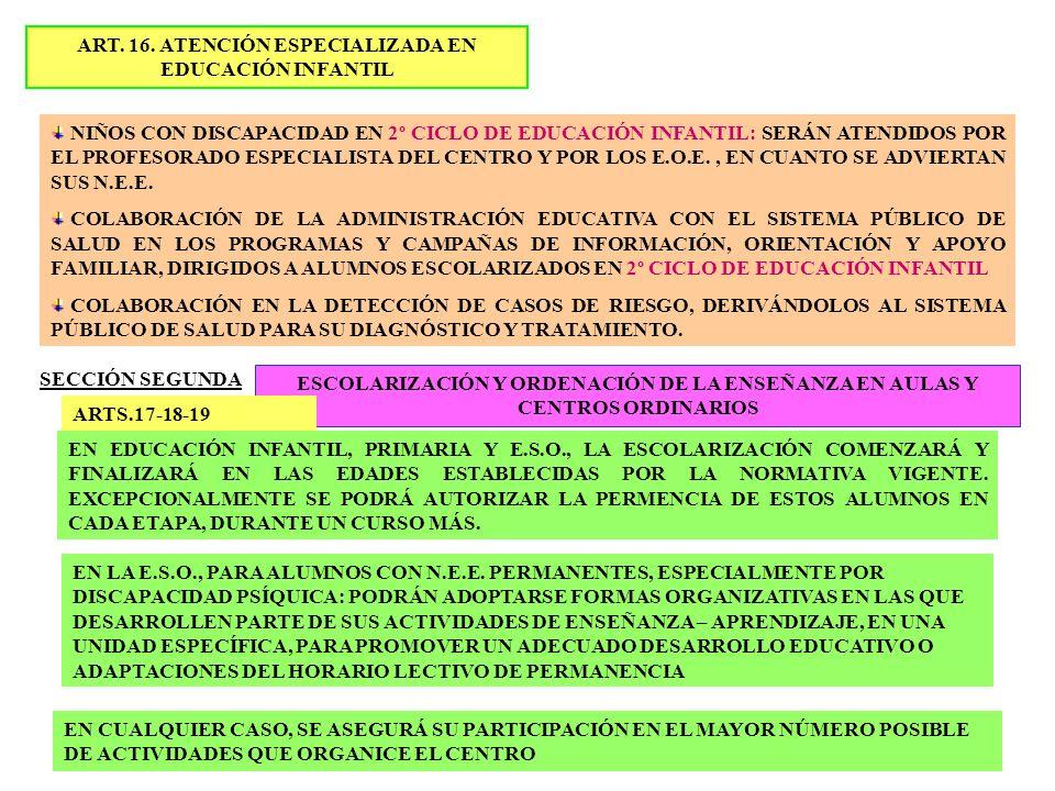 ART. 16. ATENCIÓN ESPECIALIZADA EN EDUCACIÓN INFANTIL NIÑOS CON DISCAPACIDAD EN 2º CICLO DE EDUCACIÓN INFANTIL: SERÁN ATENDIDOS POR EL PROFESORADO ESP