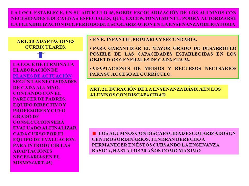LA LOCE ESTABLECE, EN SU ARTICULO 46, SOBRE ESCOLARIZACIÓN DE LOS ALUMNOS CON NECESIDADES EDUCATIVAS ESPECIALES, QUE, EXCEPCIONALMENTE, PODRÁ AUTORIZA