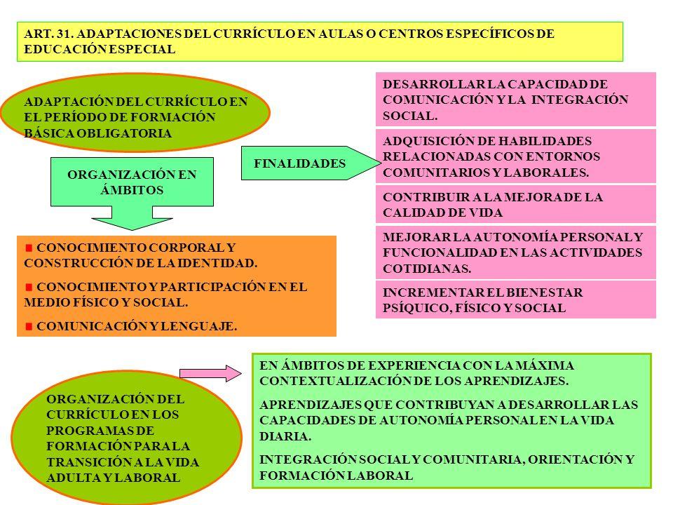 ART. 31. ADAPTACIONES DEL CURRÍCULO EN AULAS O CENTROS ESPECÍFICOS DE EDUCACIÓN ESPECIAL ADAPTACIÓN DEL CURRÍCULO EN EL PERÍODO DE FORMACIÓN BÁSICA OB