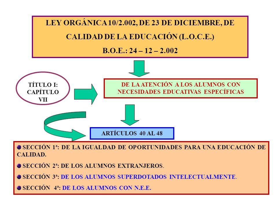 LEY ORGÁNICA 10/2.002, DE 23 DE DICIEMBRE, DE CALIDAD DE LA EDUCACIÓN (L.O.C.E.) B.O.E.: 24 – 12 – 2.002 TÍTULO I: CAPÍTULO VII DE LA ATENCIÓN A LOS A