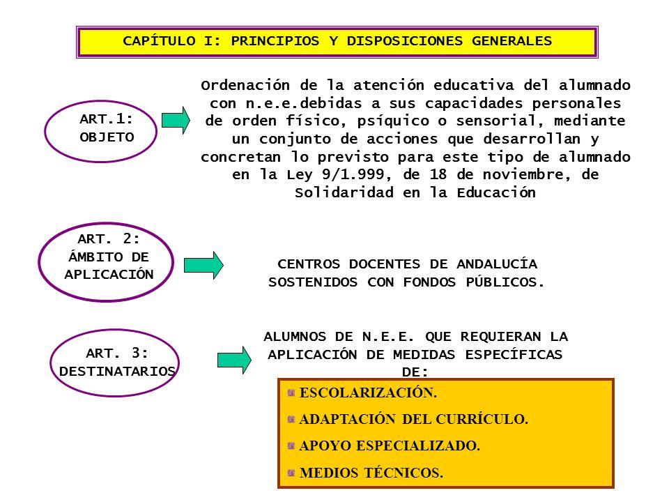 CAPÍTULO I: PRINCIPIOS Y DISPOSICIONES GENERALES ART.1: OBJETO Ordenación de la atención educativa del alumnado con n.e.e.debidas a sus capacidades personales de orden físico, psíquico o sensorial, mediante un conjunto de acciones que desarrollan y concretan lo previsto para este tipo de alumnado en la Ley 9/1.999, de 18 de noviembre, de Solidaridad en la Educación ART.