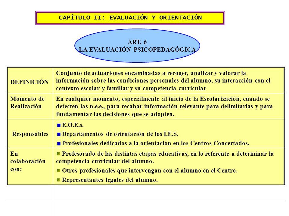 CAPÍTULO II: EVALUACIÓN Y ORIENTACIÓN ART. 6 LA EVALUACIÓN PSICOPEDAGÓGICA DEFINICIÓN Conjunto de actuaciones encaminadas a recoger, analizar y valora
