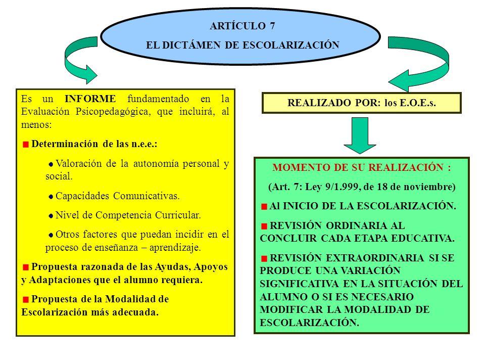 ARTÍCULO 7 EL DICTÁMEN DE ESCOLARIZACIÓN Es un INFORME fundamentado en la Evaluación Psicopedagógica, que incluirá, al menos: Determinación de las n.e