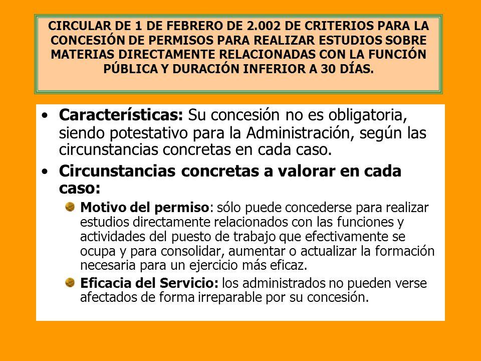 CIRCULAR DE 1 DE FEBRERO DE 2.002 DE CRITERIOS PARA LA CONCESIÓN DE PERMISOS PARA REALIZAR ESTUDIOS SOBRE MATERIAS DIRECTAMENTE RELACIONADAS CON LA FU