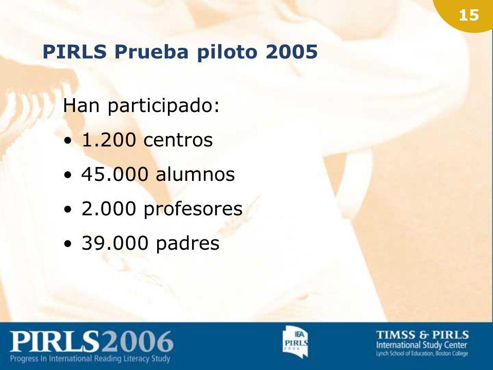 14 PIRLS Prueba piloto 2005 42 países 5 continentes 33 idiomas