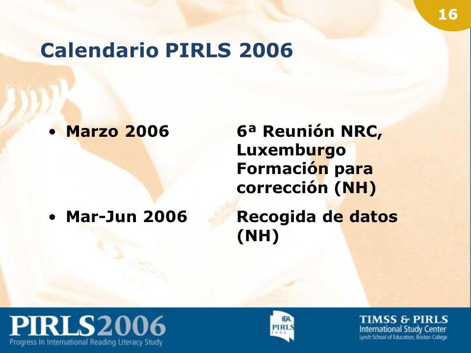 15 PIRLS Prueba piloto 2005 Han participado: 1.200 centros 45.000 alumnos 2.000 profesores 39.000 padres