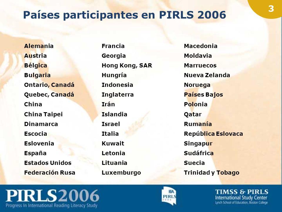 2 PIRLS 2006 Población evaluada: alumnado de 4º curso de Educación Primaria (9-10 años) Prueba escrita Cuestionarios de contexto