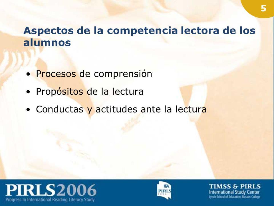 4 Definición de competencia lectora para el estudio PIRLS Habilidad para comprender y utilizar las formas lingüísticas requeridas por la sociedad y/o