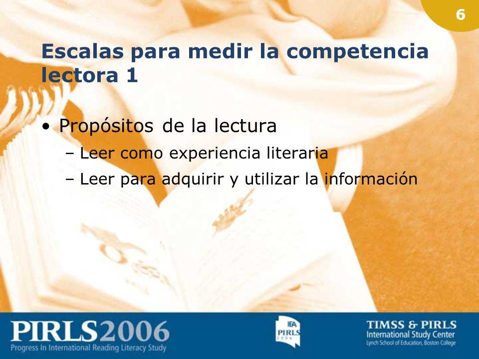 16 Calendario PIRLS 2006 Marzo 20066ª Reunión NRC, Luxemburgo Formación para corrección (NH) Mar-Jun 2006Recogida de datos (NH)
