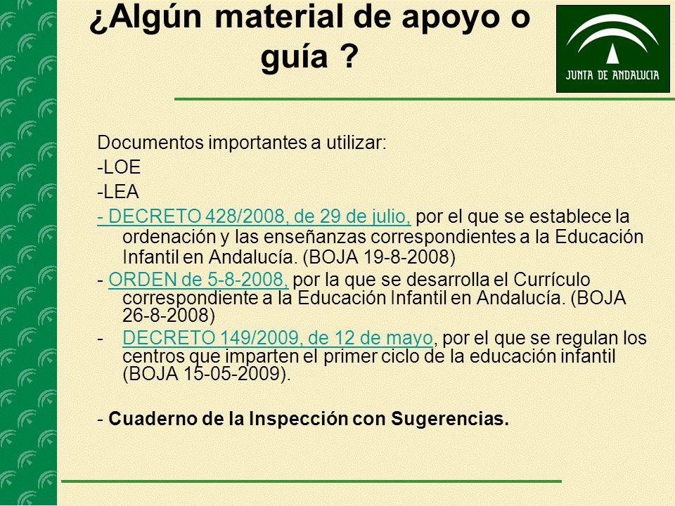 ¿Algún material de apoyo o guía ? Documentos importantes a utilizar: -LOE -LEA - DECRETO 428/2008, de 29 de julio,- DECRETO 428/2008, de 29 de julio,