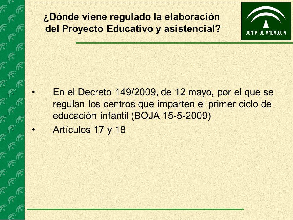 ¿Dónde viene regulado la elaboración del Proyecto Educativo y asistencial? En el Decreto 149/2009, de 12 mayo, por el que se regulan los centros que i