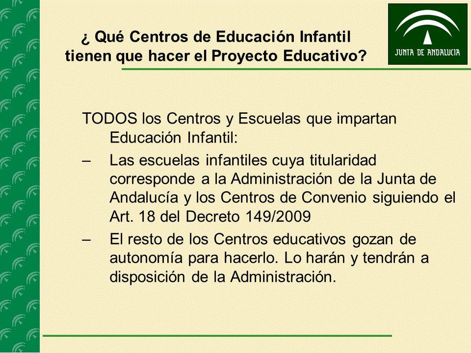 ¿ Qué Centros de Educación Infantil tienen que hacer el Proyecto Educativo? TODOS los Centros y Escuelas que impartan Educación Infantil: –Las escuela