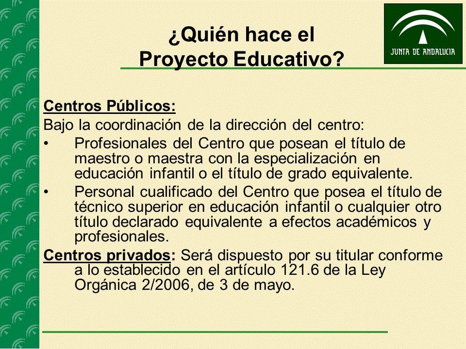 ¿Quién hace el Proyecto Educativo? Centros Públicos: Bajo la coordinación de la dirección del centro: Profesionales del Centro que posean el título de