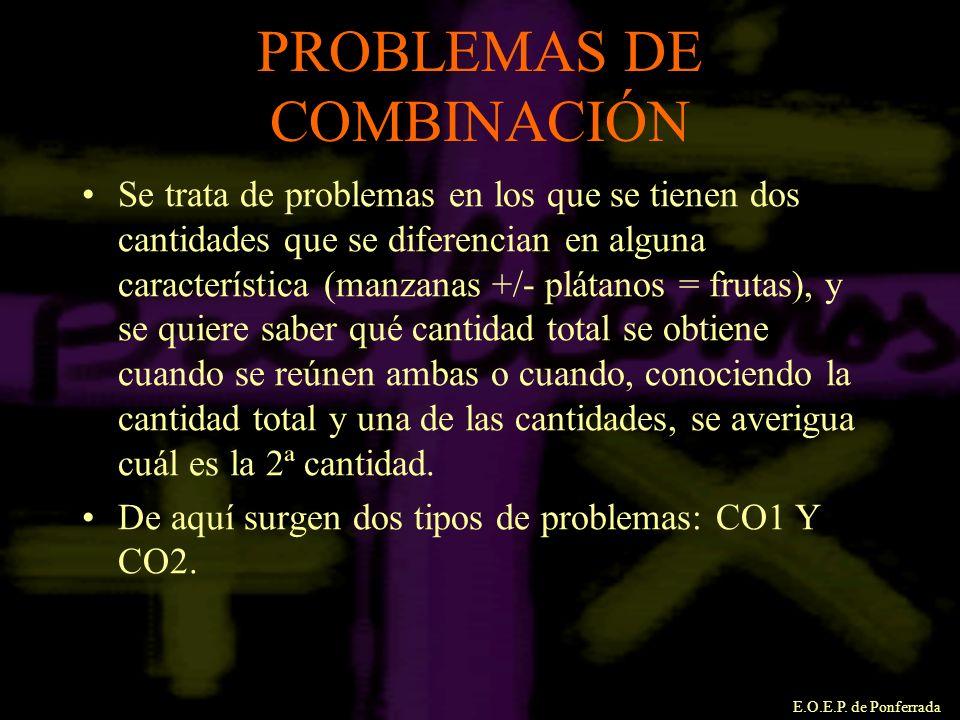 E.O.E.P. de Ponferrada PROBLEMAS DE COMBINACIÓN Se trata de problemas en los que se tienen dos cantidades que se diferencian en alguna característica
