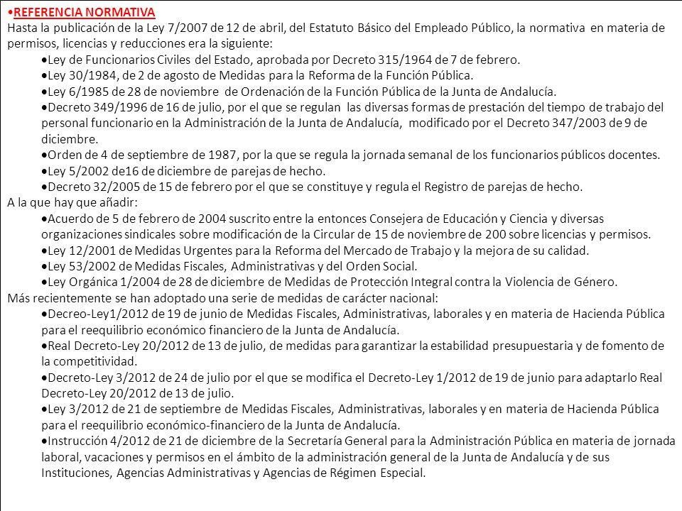 REFERENCIA NORMATIVA Hasta la publicación de la Ley 7/2007 de 12 de abril, del Estatuto Básico del Empleado Público, la normativa en materia de permis