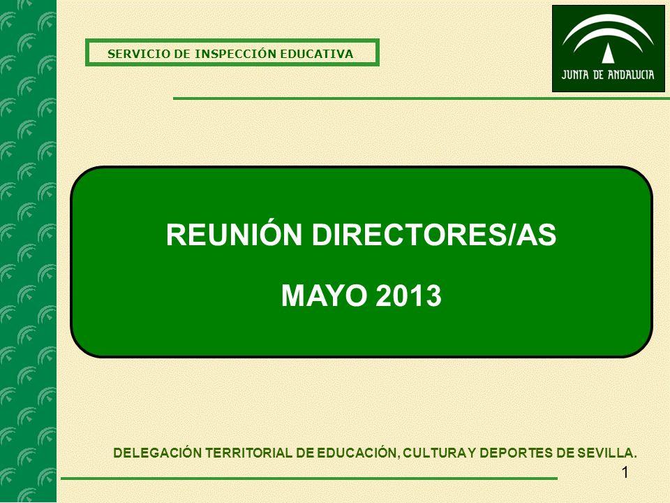 1 SERVICIO DE INSPECCIÓN EDUCATIVA REUNIÓN DIRECTORES/AS MAYO 2013 DELEGACIÓN TERRITORIAL DE EDUCACIÓN, CULTURA Y DEPORTES DE SEVILLA.
