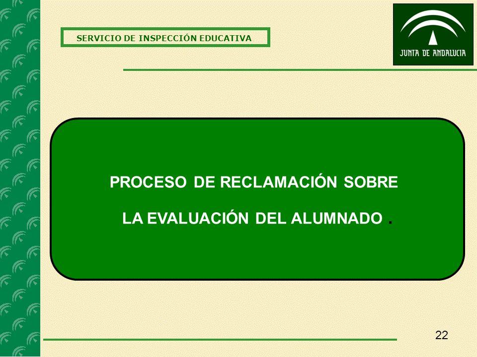 22 SERVICIO DE INSPECCIÓN EDUCATIVA PROCESO DE RECLAMACIÓN SOBRE LA EVALUACIÓN DEL ALUMNADO.